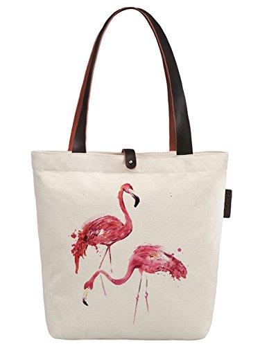 So'each Women's Animal Flamingo Graphic Canvas Handbag Tote Shoulder Bag