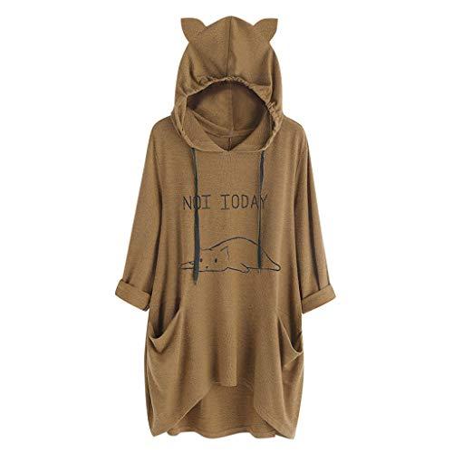 (ANJUNIE Women Casual Lying Cat Printed Long Sleeve Cat Ear Hooded Sweatshirt Pocket Tops(2-Coffee,S))