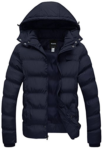 Wantdo Men's Winter Thicken Cotton Coat Puffer Jacket with Removable Hood, Navy, Medium