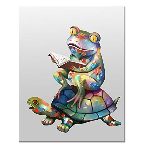 Welmeco Funny Animals Canvas Wall Art Reading Book Frog Sit on Tortoise Digital Carton Painting Giclee Prints Wall Decor Creative Contemporary Art Ready to Hang 16