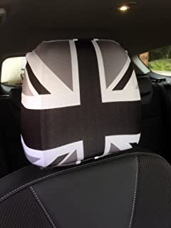 CAR SEAT HEAD REST COVERS 2 PACK BLACK WHITE UNION JACK DESIGN MADE IN YORKSHIRE