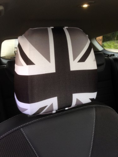 CAR SEAT HEAD REST COVERS 2 PACK BLACK /& WHITE UNION JACK DESIGN MADE IN YORKSHIRE