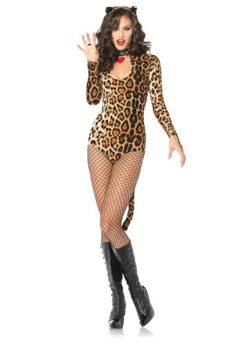 Leopard Bodysuit (Leg Avenue Women's 2 Piece Wildcat Keyhole Teddy Costume With Tail And Ear Headband, Leopard, Medium/Large)