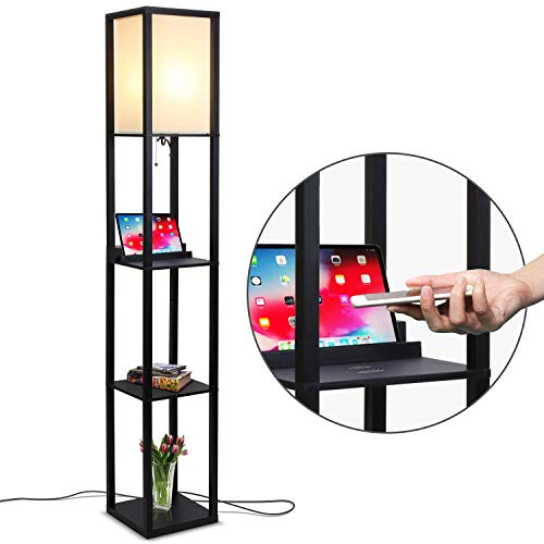 Brightech Maxwell Shelf Floor Lamp w. Wireless Charging Station, USB Port & Outlet - Contemporary Skinny Nightstand & Tower Light - Asian Column Lighting For Offices, Bedrooms & Living Rooms - Black