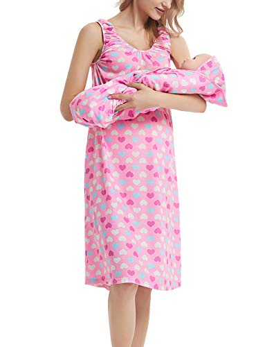 GINKANA Maternity/Nursing Delivery Nightgown with Matching Baby Swaddle Blankets and Hat Set - Hospital Bag Must Have (Small, Pink Heart)