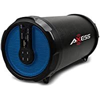 AXESS SPBT1030BL Portable Bluetooth Indoor/Outdoor Hi-Fi Cylinder Loud Speaker with Built-In 3 Sub and FM Radio, SD Card, USB, AUX Input in Blue