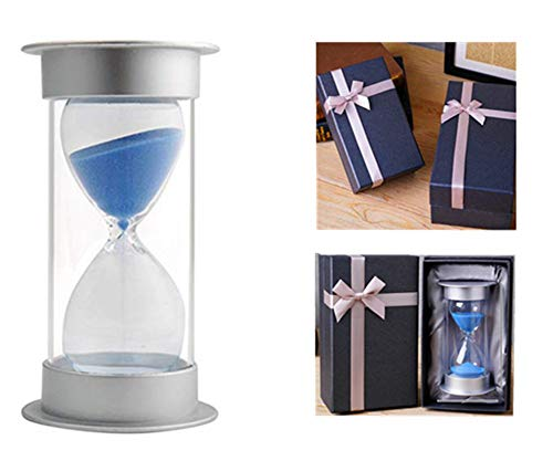 EVELS Hourglass Sand Timer GiftBox5/10/15/20/30/40/45/60 Minutes Sand glass Timer Mantel Office Desk Book Shelf Curio Cabinet Christmas Birthday Gift Kids Games Classroom Kitchen Home(60 Min, Blue) (Curio Blue Cabinet)