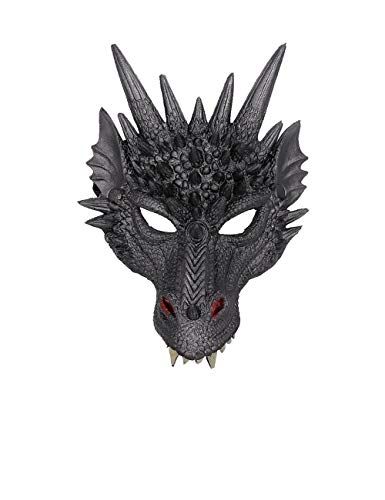 Dragon Cosplay Props Soft Mask Wing and Tail Set for Kid Teens Masquerade Party (Black -