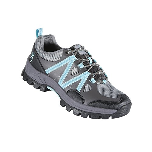 Browning Womens Glenwood Trail Shoes, Grey/Light Blue, Size 10