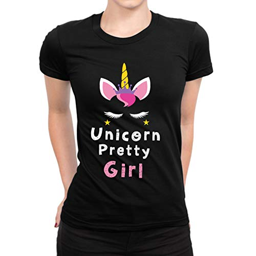 Head Ladies Tee - Unicorn Pretty Girl Headband Casual T-Shirt for Womens - Girls Gift Unicorn Party Black Tee Shirt (M)