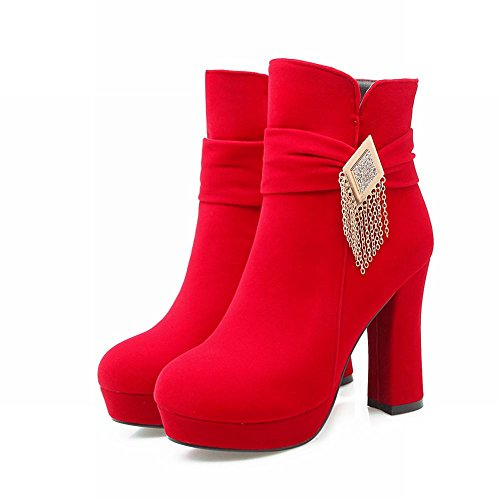 Latasa Womens Platform Ankle High Heels Faux Suede Dress Boots Red rkMCDMF