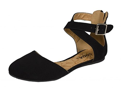 Soda Women's Kiner Darling Almond Toe Criss Cross Ankle Strap Flat (6.5 B(M) US, Black Nubuck Leatherette)