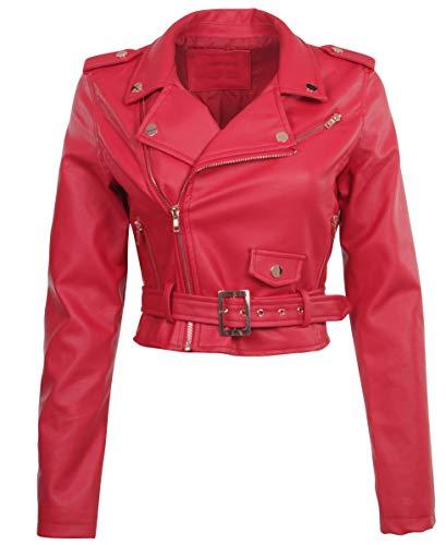 Women's Juniors Fashionable Cropped Faux Leather Moto Biker Jacket in Red Size M - Fringe Motorcycle Jacket