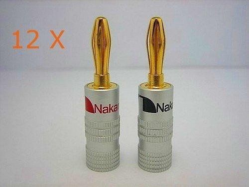 Nakamichi 12 x HIGH END Bananenstecker Bananas 24K vergoldet f/ür Kabel bis 6mm/² in Rot Schwarz