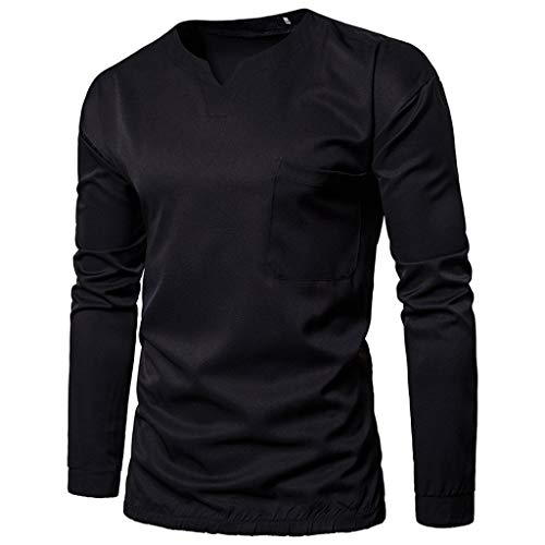 (Men's Fashion Casual Military Pure Color Pocket Short Sleeve T-Shirt Tops, MmNote Black)