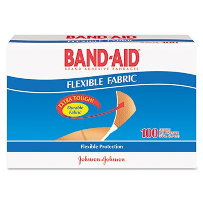 Flexible Fabric Premium Adhesive Bandages, 3/4'' x 3'', 100/Box, Sold as 1 Box