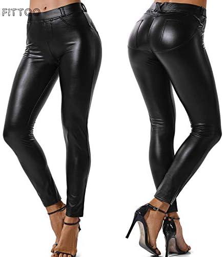 FITTOO PU Leggins Cuero Pantalón Mujeres Elásticos Pantalones para Mujer 4
