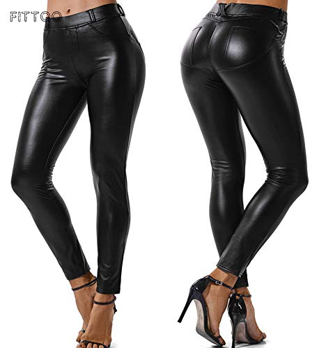 FITTOO Legging Cuir Femme Pantalon Sexy Collant Mince Slim Taille Haute Elastique PU Pantalon Basique