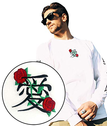 Large Embroidered White T-shirt - Riot Society Kanji Love Embroidered Mens Long Sleeve T-Shirt- White, Large