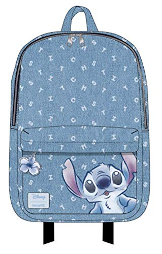 Disney Canvas Backpack - Loungefly Disney Lilo and Stitch Denim Mini Backpack (One Size, Blue)