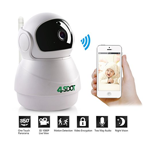 Wireless IP Camera 1080P,Nanny Cam,360 Degree Smart WIFI Camera Pan/Tilt/Zoom with Cloud Service,3D Image Touch Navigation,Panoramic View Night Vision,Two-Way Audio,Motion Detection for Elder,Baby,Pet ()