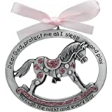 Baby Shower Gift Idea: Sweet ROCKING HORSE Crib Medal for Baby GIRL with PRAYER
