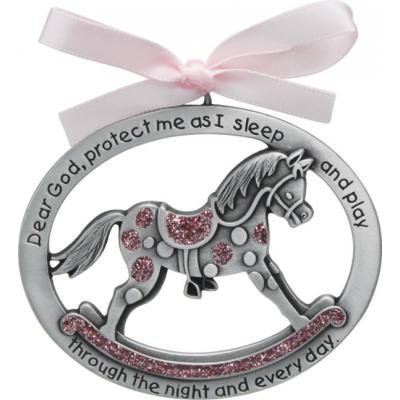 Sweet ROCKING HORSE Crib Medal for Baby GIRL with PRAYER Verse PEWTER Finish - CHRISTENING/SHOWER GIFT - Baptism KEEPSAKE w/ PINK RIBBON - INFANT - Newborn CA