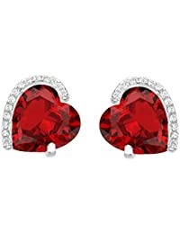 925 Sterling Silver Full Cubic Zirconia Forever Love Heart Bridal Stud Earrings Ruby Color