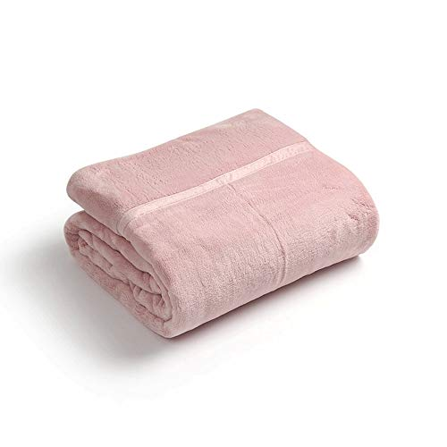 HKJhk Flannel Coral Fleece Blanket Double Thickening Warm and Comfortable Soft Single Piece Blanket (Color : Pink, Size : 180200cm)