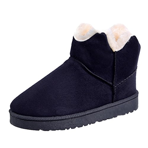 Jitong Women's Warm Faux Fur Lined Ankle Boots Comfy Flat Heel Suede Boot Slip On Short Snow Booties Black mCQXXH