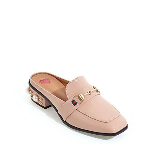 Britischer Stil Perle Absatzschuhe Pink