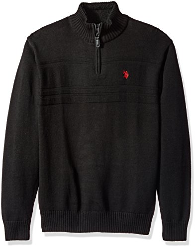 U.S. Polo Assn. Men's Solid Texture Chest Stripe 1/4 Sweater, Black, X-Large by U.S. Polo Assn.