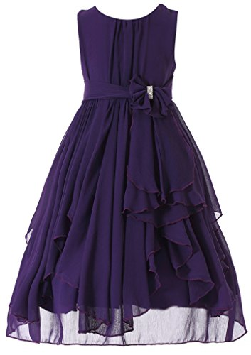 Bow Dream Flower Girl Dress Bridesmaid Ruffled Chiffon