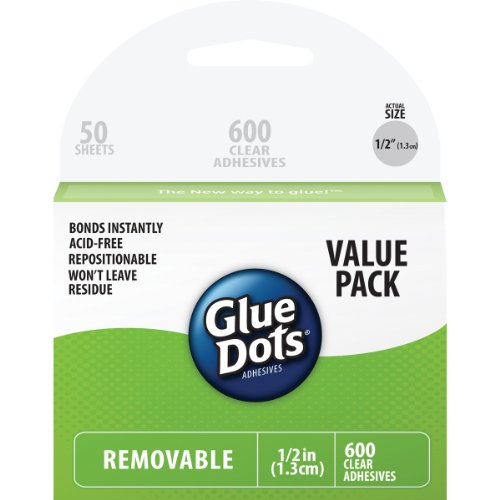 Glue Dots .5 Removable Dot Sheets Value Pack-600 Clear Dots