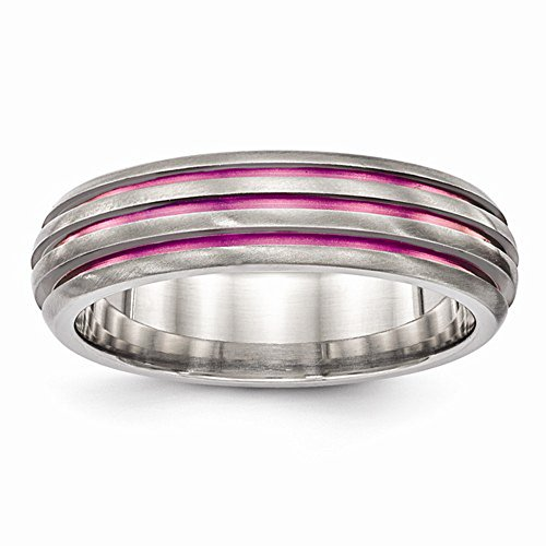 Edward Mirell Pink Anodized Triple Groove Titanium Wedding Band - Size 8.5 by Edward Mirell