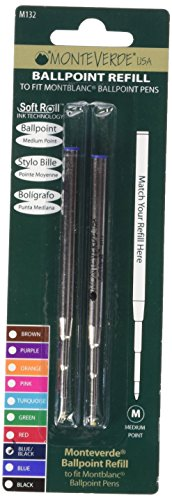 Monteverde Ballpoint Refill to Fit Montblanc Ballpoint Pens, Medium Point, Soft Roll, Blue/Black, 2 per Pack (M132BB)