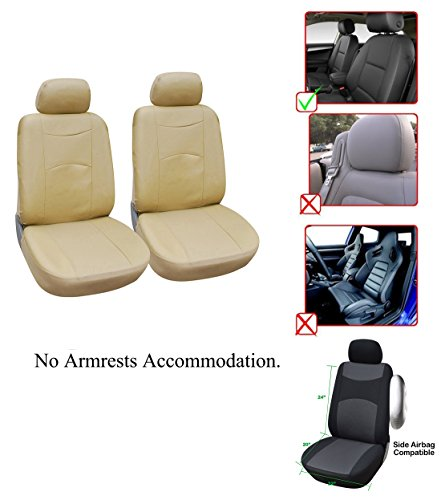 OPT Brand. Vinyl Leather 2 Front Car Seat Covers Compatible to Acura ILX MDX RDX RLX TLX TSX TL RL CSX, LL1510 TAN