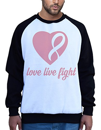 Men's Love Live Fight Breast Cancer Ribbon Heart Tee B1047 PLY Raglan Baseball Sweatshirt 3X-Large