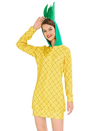 Easy Pop Culture Halloween Costumes (uideazone Womens Halloween Costume Dress Pineapple Fruit Costume Casual Yellow Fruits Pattern Casual Long Sleeve Sweatshirt for Party Halloween)