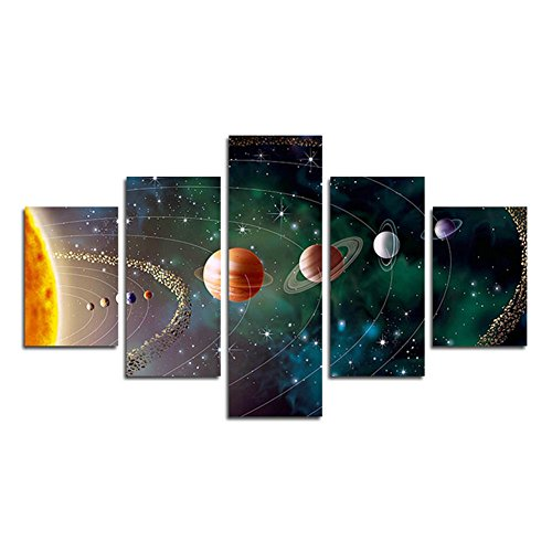 SwmArt 5 Piece Solar system, planets, Earth Sciences by satellite Cosmos silk Canvas posters, children bedroom decoration posters science (no frame) Swm285 50 inch x30 inch by SwmArt