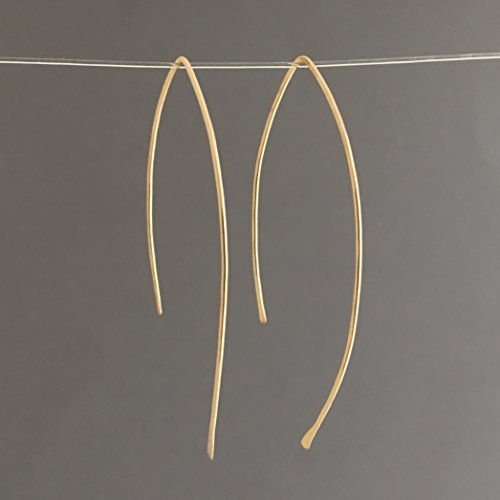 (Hammered Wire Wishbone Threader Earrings in Gold Fill, Rose Gold Fill, or Sterling Silver)