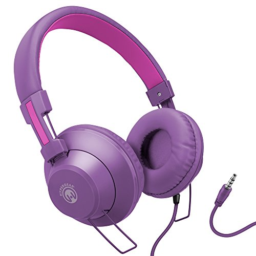 HyperGear V50 Wired Stereo Headphones with High-Fidelity Stereo Sound, in-Line Microphone & Remote to Switch from Music to Calls. Adjustable, Padded Headband & Memory Foam Ear Cushion (Purple/Pink)