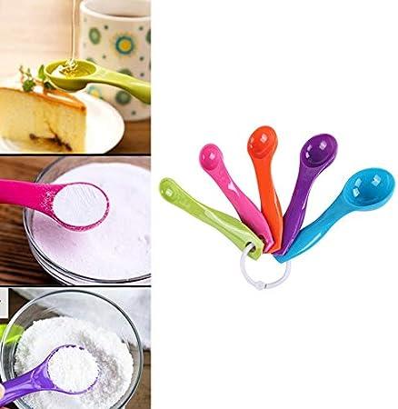 Appearancees Juego de 5 tazas medidoras de plástico de colores para cocina, mango ergonómico, para azúcar, pasteles, cuchara de medición para el hogar