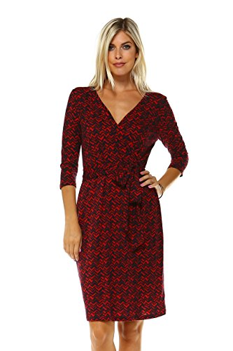 Marcelle Marguax Women's Printed Three Quarter 3/4 Sleeve Knee Length Self-Tie Faux Wrap Dress
