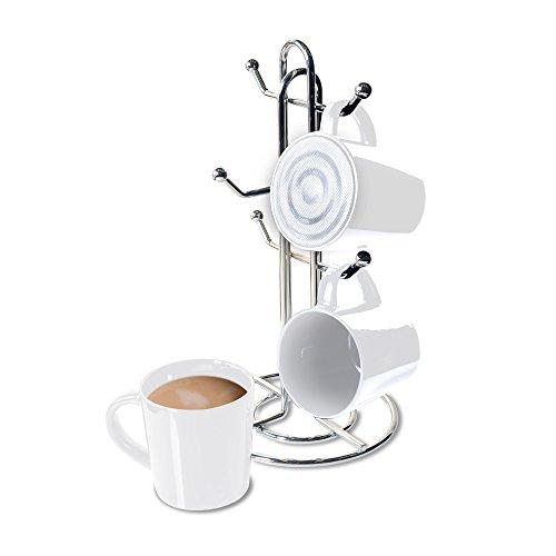 CTA Digital SP-BMSW Bluetooth Speaker Mug with Mug Stand & Porcelain Mugs