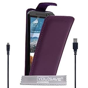 Yousave Accessories HTC One (M9) 2015 funda de piel sintética con tapa y Cable Micro USB - morado