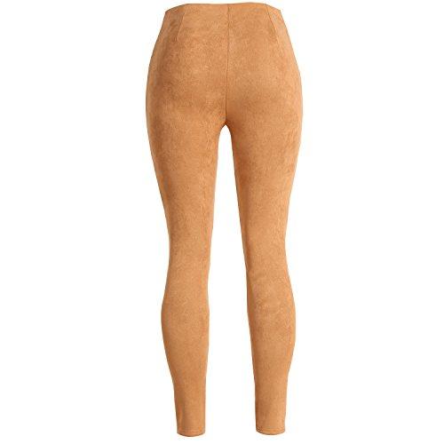 pelle Pantaloni bottoni con in casual scamosciata Khaki scamosciata pelle in bottoni con Bfzw6B