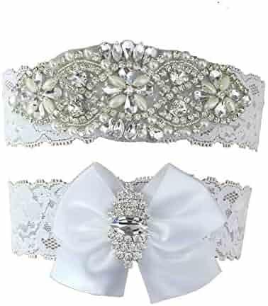 fb6cae61691 Kirmoo Vintage Bridal Garter Set Lace Wedding Garters For Bride White Bow  Rhinestones