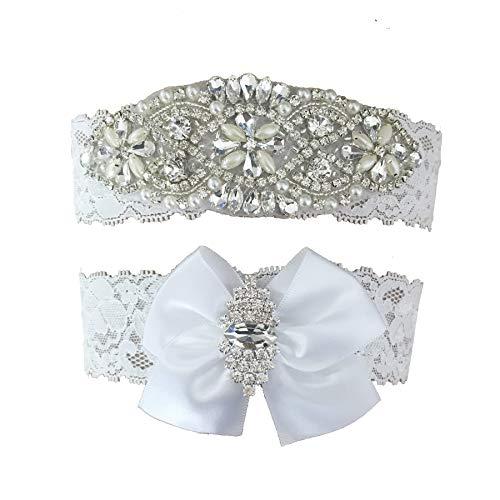 Kirmoo Vintage Bridal Garter Set Lace Wedding Garters For Bride White with Bow Rhinestones -