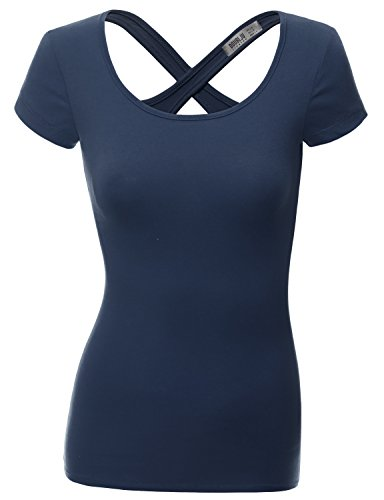 Doublju Women Unique Designed Slim Fit Short Sleeve Top NAVY,M